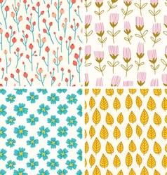 Berries and flowers patterns vector image vector image