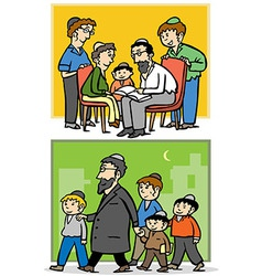 Jewish family Father and his children vector image