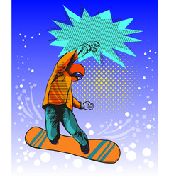 snowboard jumping guy pop art comic style vector image