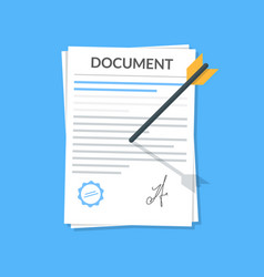 business document attached by an arrow to the wall vector image vector image
