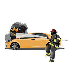 car accident fireman vector image