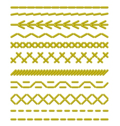 sewing stitches pattern vector image