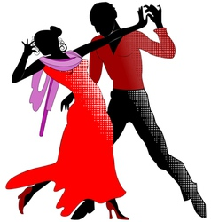 Tango silhouettes in red vector image