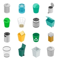 Trash can icons set isometric 3d style vector image vector image