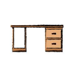 wooden desk drawers handle furniture office vector image vector image