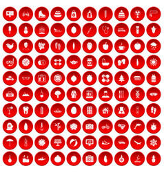 100 women health icons set red vector