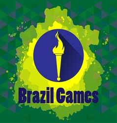 Abstract Brazil games design with burning flame lo vector