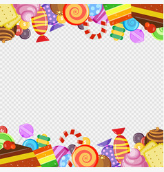 abstract frame with sweets colorful caramel and vector image