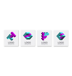 abstract shapes logo set business concept vector image