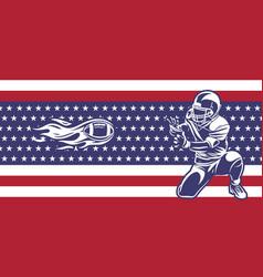 american football players catch fireballs banner vector image