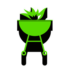 Barbecue with fire sign green 3d icon vector