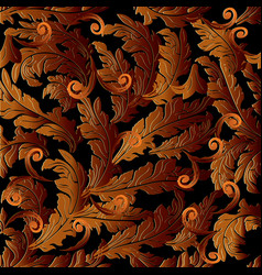 Baroque 3d seamless pattern floral leafy vector