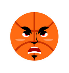 basketball angry emoji ball grumpy emotion vector image