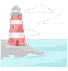 beacon standing on rock washed water vector image