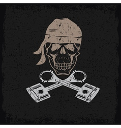 Biker theme grunge label with skull and pistons vector