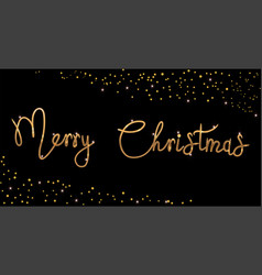 bright merry christmas brush lettering text gold vector image
