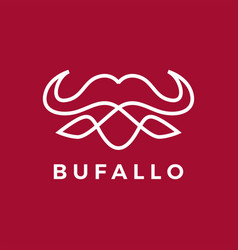 buffalo head line outline monoline logo icon vector image