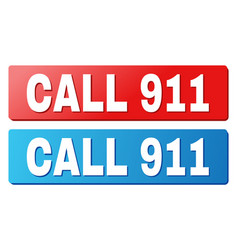 Call 911 title on blue and red rectangle buttons vector