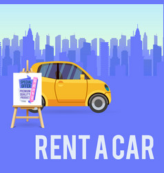 car sale banner with little vector image