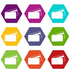 card discounts black friday icons set 9 vector image