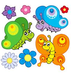 Cartoon butterflies collection vector