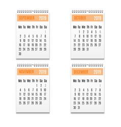 cartoon color spiral calendar icon set vector image