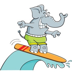 Cartoon elephant surfing vector
