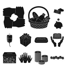 Charity and donation black icons in set collection vector