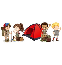 Children camping and hiking vector
