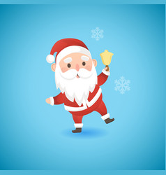 christmas funny santa claus holding gold bell vector image