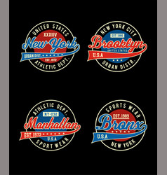 College sport set t-shirt vector