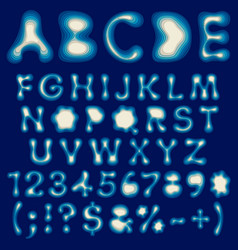 Color alphabet letters and numbers from layers vector