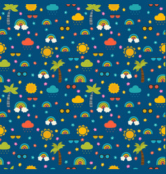 colorful summer seamless pattern with hand drawn vector image