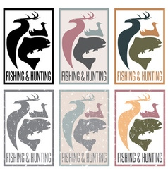 Concept of hunting and fishing themevintage labels vector