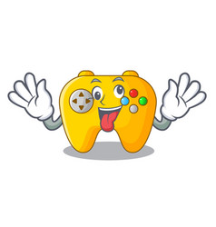 Crazy retro computer game control on mascot vector