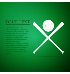 Crossed baseball bats and ball flat icon on green vector