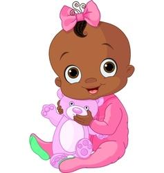 cute bagirl with teddy bear vector image