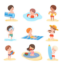 cute boys and girls playing on beach set kids vector image
