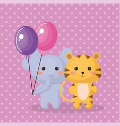 cute elephant sweet kawaii birthday card vector image