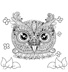 Decorative owl cartoons adult coloring page vector