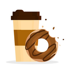 donut and coffee on white background vector image