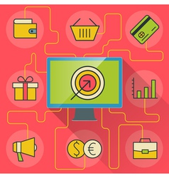 e-commerce and business infographics with computer vector image