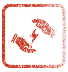 Electricity care hands framed textured icon vector