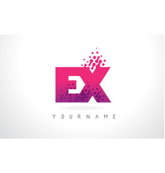 ex e x letter logo with pink purple color and vector image
