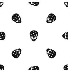 Extraterrestrial alien head pattern seamless black vector