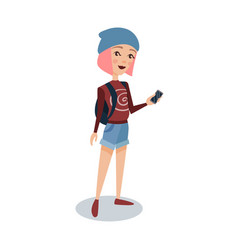 Fashionable female student with pink hair standing vector