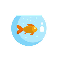 Fish in round aquarium icon flat style vector