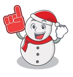 foam finger snowman character cartoon style vector image