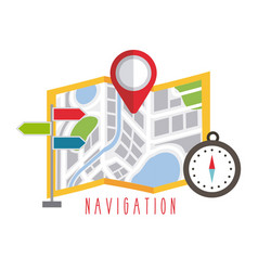 folded map navigation with red point markers vector image