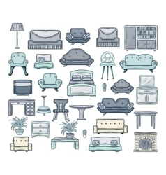 Furniture icon set vector image